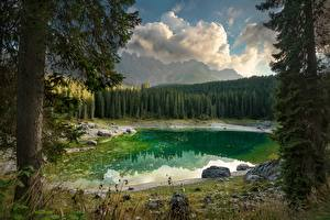 Wallpapers Lake Italy Forest Landscape photography Trees Dolomites, Karersee Nature