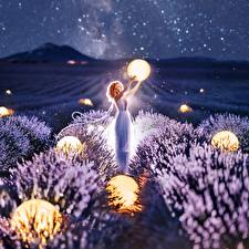 Image Lavender Fields Balls Night time Kristina Makeeva Nature Girls