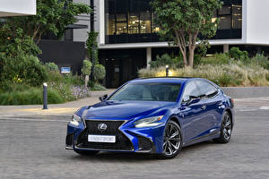 Hintergrundbilder Lexus Blau Metallisch 2019 LS 500 F SPORT automobil
