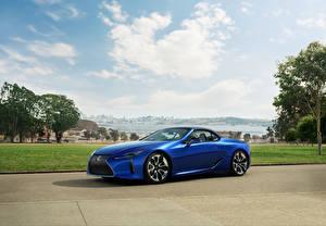 Bilder Lexus Blau Cabrio 2021 LC 500 Convertible automobil