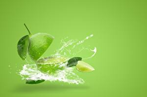Images Lime Colored background Water splash Green Food