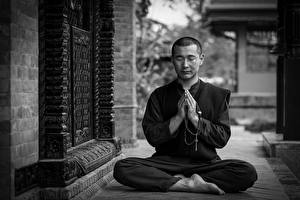 Image Man Padmasana Black and white Sit Posing Hands Legs Monk