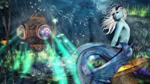 Pictures Mermaid Underwater world Fantasy 3D_Graphics