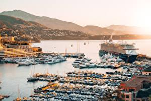 Fotos Monte-Carlo Monaco Morgendämmerung und Sonnenuntergang Bootssteg Kreuzfahrtschiff Motorboot Städte