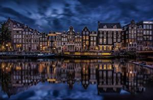Fotos Niederlande Amsterdam Gebäude Abend Kanal
