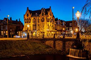 Fotos Niederlande Abend Gebäude Brücken Straßenlaterne Arnhem