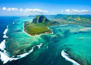 Fotos Ozean Insel Gebirge Himmel Von oben Mauritius Natur