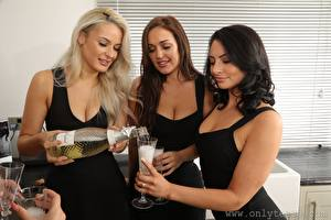 Picture Paige F Only Hollie Q Becky Bond Brunette girl Blonde girl Brown haired Hands Bottles Stemware Three 3 young woman