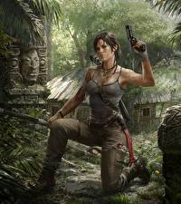 Pictures Tomb Raider Pistol Tomb Raider 2013 Lara Croft Bow weapon Games Girls