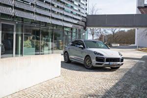 Bilder Porsche Graue Coupe Hybrid Autos Metallisch  automobil