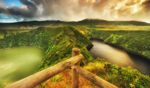Pictures Portugal Lake Hill Moss HDRI Flores island Azores