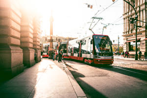 Photo Prague Czech Republic Street Asphalt Tram Cities