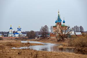 Wallpaper Russia Spring Temples Church Monastery River Kirill Sokolov, Dunilovo