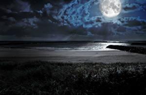 Hintergrundbilder Landschaftsfotografie Küste Nacht Mond Wolke Natur