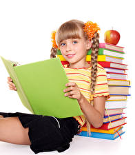 Photo School Apples White background Little girls Staring Books Sit child