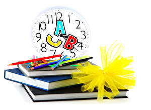 Wallpaper School Clock White background Book Pencils