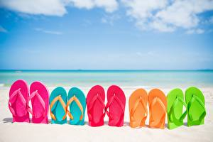 Bilder Meer Strand Flipflop Mehrfarbige