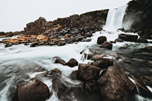 Photo Stone Waterfalls Iceland  Nature