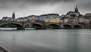 Fotos Schweiz Gebäude Fluss Brücke Basel