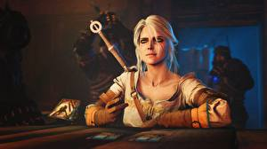 Hintergrundbilder The Witcher 3: Wild Hunt Blondine Sitzt Sitzend Computerspiel Cirilla Fiona Elen Riannon, Gwent :The Witcher Card Game 3D-Grafik Mädchens