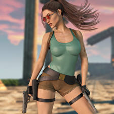 Pictures Tomb Raider Tomb Raider Legend Pistol Eyeglasses Lara Croft Posing Girls 3D_Graphics