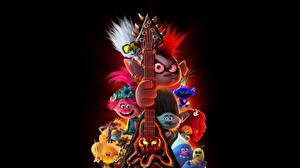 Fotos Troll (Mythologie) Trolls World Tour 2020 Schwarzer Hintergrund Gitarre