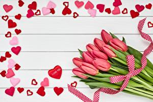 Bilder Tulpen Blumensträuße Herz Bretter Vorlage Grußkarte Blumen