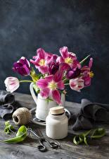 Fotos Tulpen Bretter Vase Weckglas Blüte