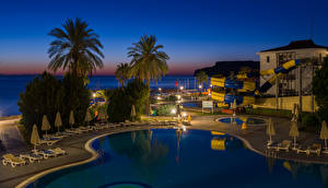 Photo Turkey Evening Spa town Palm trees Pools Antalya Cities
