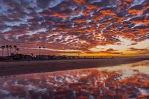 Hintergrundbilder Vereinigte Staaten Küste Morgendämmerung und Sonnenuntergang Gebäude Himmel Wolke Newport Beach Natur