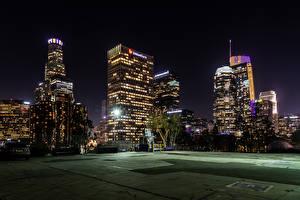 Image USA Building Evening Los Angeles Street lights