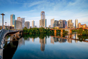 Fotos USA Gebäude Flusse Brücken Texas Austin Städte