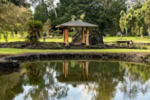 Bilder Vereinigte Staaten Parks Teich Brücken Hawaii Lili'uokalani Park Kauhiula