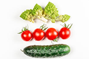 Wallpapers Vegetables Tomatoes Cucumbers Broccoli White background Food