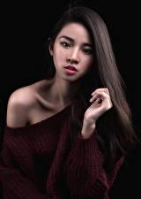 デスクトップの壁紙、、アジア人、黒色背景、セーター、髪、凝視、若い女性、