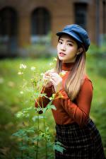 Hintergrundbilder Asiatische Bokeh Sweatshirt Blick Mädchens
