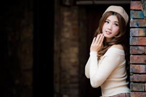 Fotos Asiatische Braune Haare Hand Starren Süß Mädchens