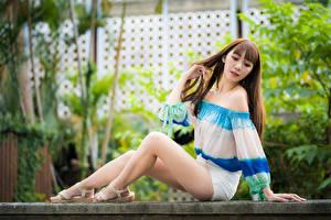 Hintergrundbilder Asiatische Braune Haare Sitzt Bein Mädchens