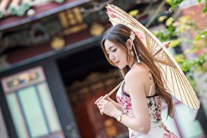 Fotos Asiatische Kleid Hand Regenschirm Unscharfer Hintergrund junge Frauen