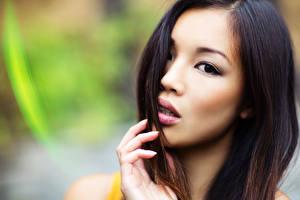 Bilder Asiaten Finger Unscharfer Hintergrund Gesicht Starren junge frau