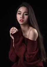 デスクトップの壁紙、、アジア人、セーター、手、髪、凝視、少女、