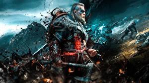 Papel de Parede Desktop Assassin's Creed Guerreiros Homem Machado de guerra Viking Valhalla 2020 videojogo Fantasia