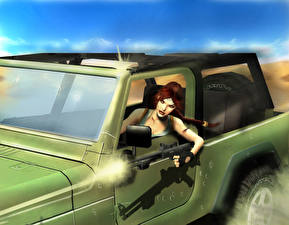 Pictures Tomb Raider Assault rifle Tomb Raider Anniversary Lara Croft Plait Girls 3D_Graphics