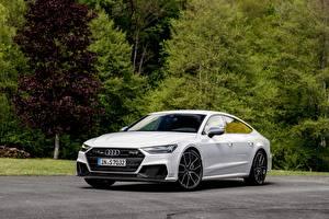 Fotos Audi Weiß Metallisch S7 Sportback, 2019 Autos