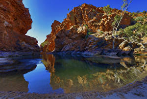 Pictures Australia Lake Crag Canyon Northern Territory Nature