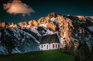 Hintergrundbilder Österreich Berg Kirchengebäude Alpen Dienten, Church Of Dienten Natur