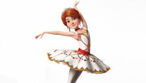 Tapety na pulpit Na białym tle Balet Sukienka Pozować Ruda Dziewczyna Balerina (Felis) kreskówka Grafika_3D Dziewczyny