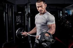 Fotos Bodybuilding Mann T-Shirt Hantelstange Fitnessstudio Hand Muskeln Sport