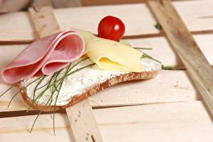 Wallpapers Butterbrot Bread Cheese Ham Tomatoes