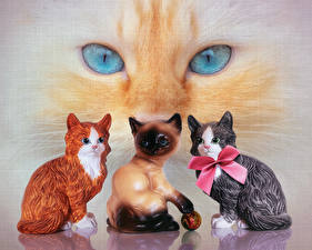 Photo Cats Eyes Sculptures Bow knot animal